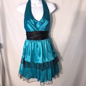 Windsor teal and black cocktail halter top dress